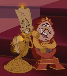 lumiere and cogsworth - friend and enemies in the same time😂😂