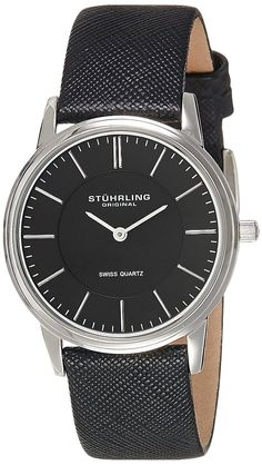 Stuhrling Original Men's 238.32151 Classic Ascot Newberry Quartz Super Slim Black Leather Strap Watch ** Want additional info? Click on the image.