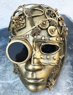 STEAMPUNK CYBORG 'I-ROBOT' Distressed Gold - Brass Masquerade, Mardi Gras, Comic Con Mask - Burning Man Mask - You are in the right place about give a salute Here we offer you the most beautiful pictures about - Robots Steampunk, Steampunk Gadgets, Steampunk Mask, Steampunk Crafts, Steampunk Design, Steampunk Costume, Steampunk Fashion, Steampunk House, Diesel Punk