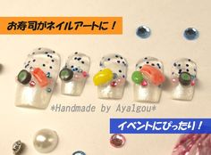 3D nails polymer clay miniature sushi french tips by Aya1gou, $18.50