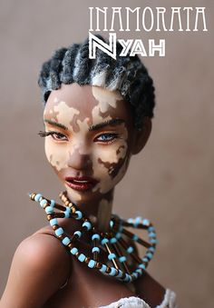 Nyah - OOAK Inamorata | Nyah is part of Inamorata Vitiligo c… | Flickr African Dolls, African American Dolls, Fashion Royalty Dolls, Fashion Dolls, Afro, Diva Dolls, Pelo Natural, Beautiful Barbie Dolls, Black Barbie