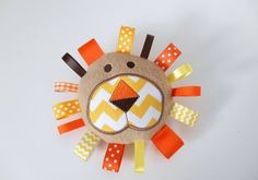 Lion Face Baby Toy Fleece Stuffed Tan Yellow Orange Ribbons-Ready to Ship on… Sewing Toys, Baby Sewing, Sewing Crafts, Sewing Projects, Diy Baby Gifts, Baby Crafts, Felt Crafts, Baby Toys, Kids Toys