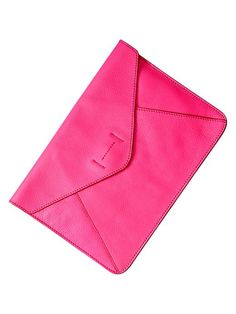GAP leather envelope clutch in bright pink $39