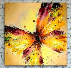 Hand painted modern wall art picture for wedding bedroom home decor abstract Colorful Butterfly flower oil painting on canvas b4-in Painting & Calligraphy from Home & Garden on Aliexpress.com | Alibaba Group