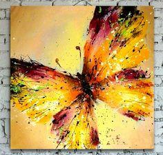 Pintada a mano moderna imagen de arte de pared para la boda decoración del hogar dormitorio mariposa colorida abstracta flor de pintura al óleo en la lona b4(China (Mainland))