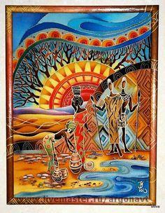 """Этно ручной работы. Ярмарка Мастеров - ручная работа Панно-батик """"Африканские мотивы"""". Handmade."""