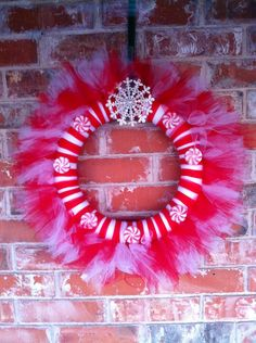 Christmas tulle wreath red and white OR customize your own. $30.00, via Etsy.