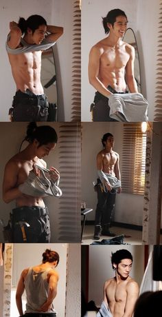 Kim Bum ugh again with the pony tail! and he's shirtless! i swear he just wants me to die. Kim Bum, Anatomy Poses, Poses References, Body Poses, Male Poses, Male Body, Hot Boys, Korean Actors, Korean Men