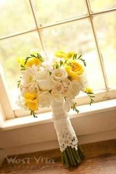 Yellow and white rose wedding bouquet {The Elegant Bee - San Antonio-area Florist}