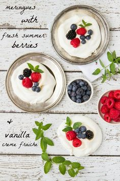 ... creme fraiche meringues with fresh summer berries and vanilla creme