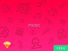 Music UI Icons Free PSD + Sketch