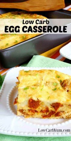 A delicious low carb egg casserole with sausage that can make a weeks worth of hot breakfasts. Reheat a square serving for quick breakfasts on the go. | LowCarbYum.com via @lowcarbyum