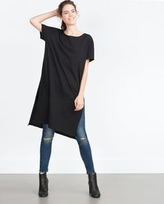 Image 1 of LONG T-SHIRT WITH SLITS from Zara