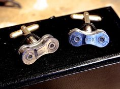 Shimano Racing Chain up cycled Cufflinks by RSJSStudios on Etsy, £25.00