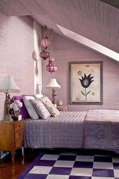 Old style bedroom in different shades of mauve
