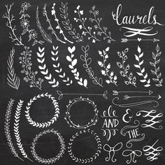 Chalkboard Laurels & Wreaths Clip Art // Hand Drawn Chalk // Ribbon Foliage Leaves Calligraphy // Wedding Invitation // Commercial Use