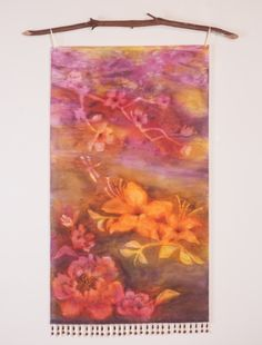 Watercolor Flowers Spring Decor-Watercolor Silk Tapestry-Mother's Day Gift