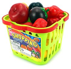 Fruit and Veggies Shopping Basket Toy Food Playset w/ Assorted Toy Fruit and Vegetables ** To view further for this item, visit the image link.