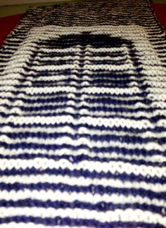 illusion knit a scarf with the disappearing Tardis and fair isle knits