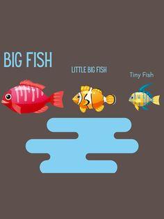 """Big Fish"" T-shirt by SCIIX   Redbubble Tiny Fish, Cute Fish, Fishing T Shirts, Big Little, Bart Simpson, Tshirt Colors, Wardrobe Staples, Female Models, Classic T Shirts"