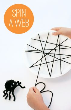 Clever Spider Web made with paper plate and yarn PagingSupermom.com #halloween #boo #spider #kidscraft