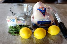 Lemon Rosemary Roast Chicken from The Pioneer Woman - I used 1 stick of butter and 2 lemons for two chickens and it was plenty (the recipe calls for 3 sticks to one chicken). I also added garlic because roast chicken always needs garlic! :) We roasted potatoes and onions in the pan around the chicken. Yum, yum!!