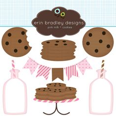 pink milk and cookies clipart