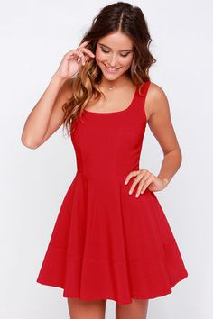 Whether you're home by curfew or keep the party going all night, the Home Before Daylight Red Dress is the perfect party companion! Knit tank straps support a stunning bodice with a sexy square neckline, scoop back, and unique seaming in front. The fun continues with a fit and flare style, thanks to a full circle skirt and exposed back zipper. Front of bodice is lined. Shell: 94% Polyester, 6% Spandex. Polyester lining. Hand Wash Cold or Dry Clean. Made with Love in the U.S.A.