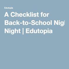 A Checklist for Back-to-School Night   Edutopia