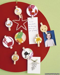 Winter Magnets Have your child draw helpful refrigerator reminders, a  Christmas tree and ornaments, or a menorah and candles. Print onto magnet sheets and cut out. To give magnets as gifts, affix them to a greeting card with double-sided tape.  - could do this with anything!