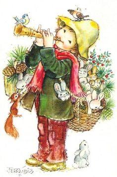 Christmas Illustration by Juan Ferrandiz Love Illustration, Christmas Illustration, Illustration Artists, Fall Pictures, Christmas Pictures, Vintage Christmas Cards, Christmas Love, Holly Hobbie, Gif Animé