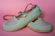 Yonka shoes by ChePick Art. Vegan handmade shoes. Crochet turquoise shoes with…