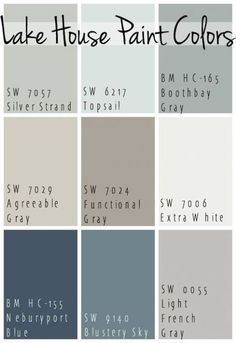 The Best Lake House Paint Colors - calming blue and gray tones that all coordinate for a seamless color pallet for a lake home. The Best Lake House Paint Colors - calming blue and gray tones that all coordinate for a seamless color pallet for a lake home. Interior Paint Colors, Paint Colors For Home, Interior Design, Interior Ideas, Interior Painting, Beachy Paint Colors, Small Bedroom Paint Colors, Basement Wall Colors, Rustic Paint Colors