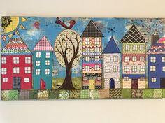 House Village Painted Canvas by  heartfeltByRobin on Etsy