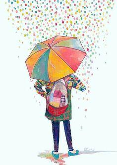raining a rainbow