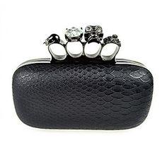Woman Evening Clutch Snakeskin Hard Case Black Satin Skull Ring Knuckle Duster Four Rings Party Night Club Handbags (Black) $32.99