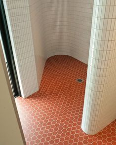 Love this tile combo and the shape of this shower