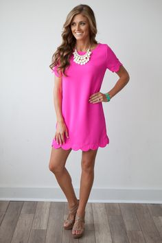It Girl Solid Short Sleeve Scalloped Woven Shift Dress Hot Pink - Magnolia Boutique