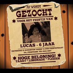 Spannende 'GEZOCHT' poster uit het Wilde Westen voor een stoere-jongens feestje! Pas de teksten aan, vervang de foto  en jouw uitnodiging is klaar!