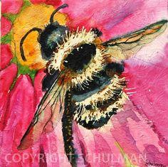 "Bee Painting large Fine art print 12x12"""