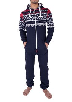 806161cf0ddb Noroze Mens Hoodie Jumpsuit Onesie One Piece Pajamas (Medium