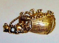 Vintage Signed Tofa Antique Gold Tone Noah's Ark Figural Brooch Pin 442 | eBay