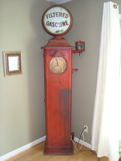 Early Erie Clock Face Gas Pump With original filtered Gasoline 15 inch advertising Globe