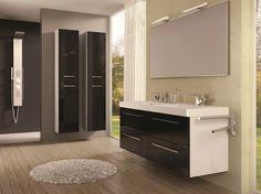 Dwie szafki Kwadro 60 2S black z umywalką konglomeratową 120 Duo • Two units Kwadro 60 2S black with acrylic washbasin 120 Duo.  #elita #meble #lazienka #kwadro #bathroom #furniture