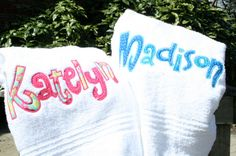 Personalized Beach Towel Appliqued Name.