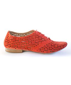 Red Firth Cutout Suede Oxford
