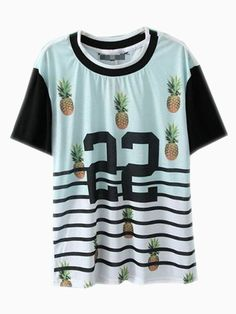 1f4122a74303 Shop White Short Sleeve Striped 22 Pineapple Print T-Shirt online. SHEIN  offers White Short Sleeve Striped 22 Pineapple Print T-Shirt   more to fit  your ...