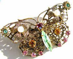 Czechoslovakia Rhinestone Filigree Butterfly Brooch