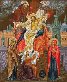 """""""Deposition from the Cross"""" Cathedral Icon Religious Images, Religious Icons, Religious Art, Byzantine Icons, Byzantine Art, Greek Icons, Russian Icons, Mary Magdalene, Catholic Art"""