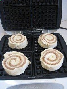 cinnamon roll waffles breakfast recipe recipes easy recipes breakfast recipes. Its easy. Put the packaged cinnamon rolls in there, p...